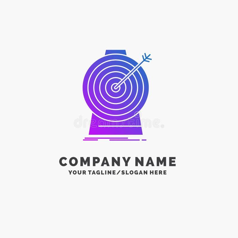 Aim, focus, goal, target, targeting Purple Business Logo Template. Place for Tagline stock illustration
