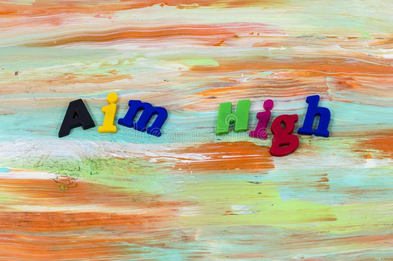 Aim high dream big competition success plastic stock photography