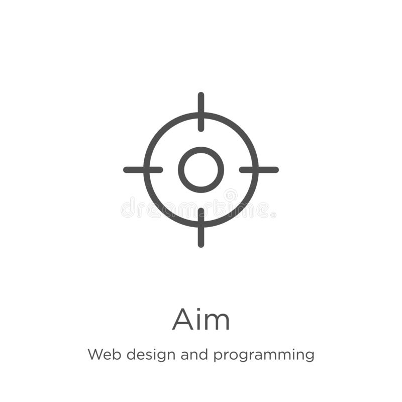 Aim icon vector from web design and programming collection. Thin line aim outline icon vector illustration. Outline, thin line aim. Aim icon. Element of web stock illustration