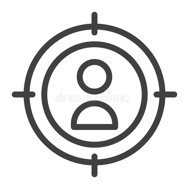 Aim line icon. Outline vector sign, linear style pictogram isolated on white. Symbol, logo illustration. Editable stroke stock illustration