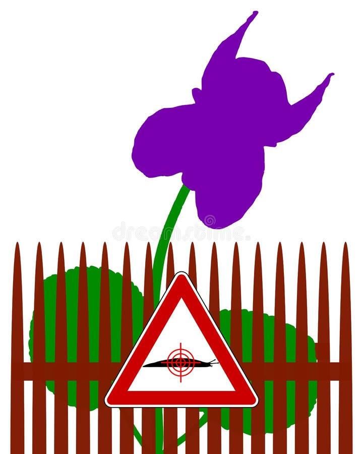 Aim at slugs warning sign vector illustration