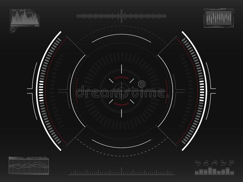 Aim system. Futuristic aiming concept. Modern crosshair. Sci-fi HUD interface. UI with infographic elements. Spaceship. Screen concept. Vector illustration royalty free illustration