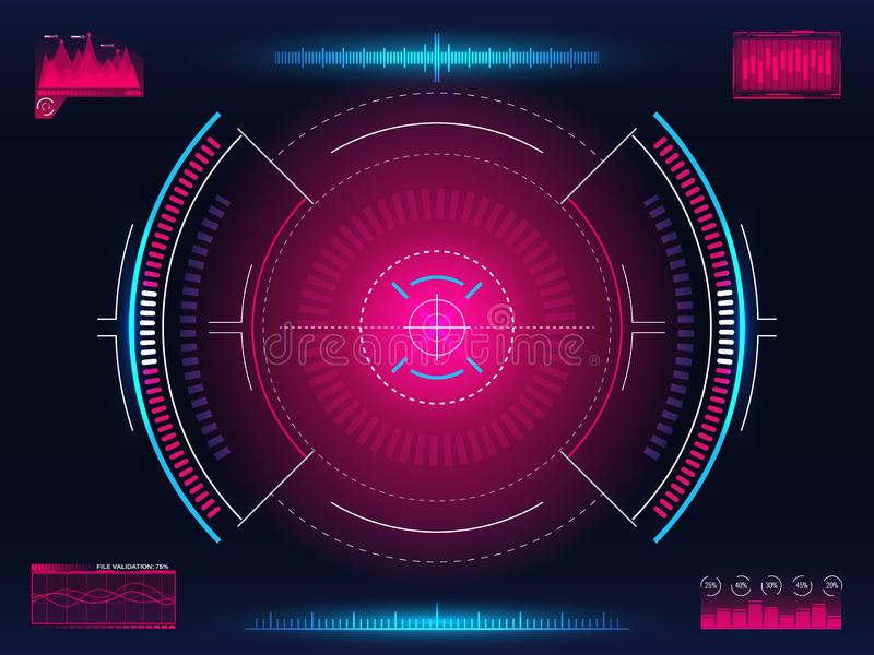 Aim system. Modern aiming concept. Futuristic HUD interface with bright infographic elements. Weapon crosshair template. Game element design. Glowing target royalty free illustration