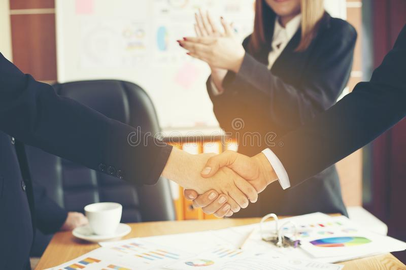 The aim is to succeed in doing business. Financial Business Conference And work unity. Teamwork is good royalty free stock photo