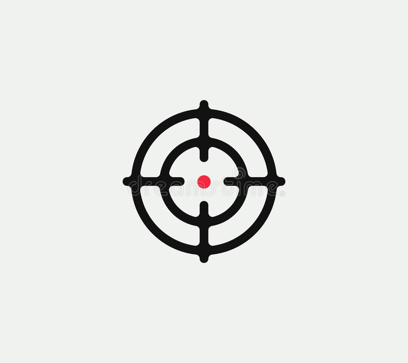 Aim vector linear stylized icon, goal abstract sign, target symbol, gun business logo template, vector illustration on. White background royalty free illustration