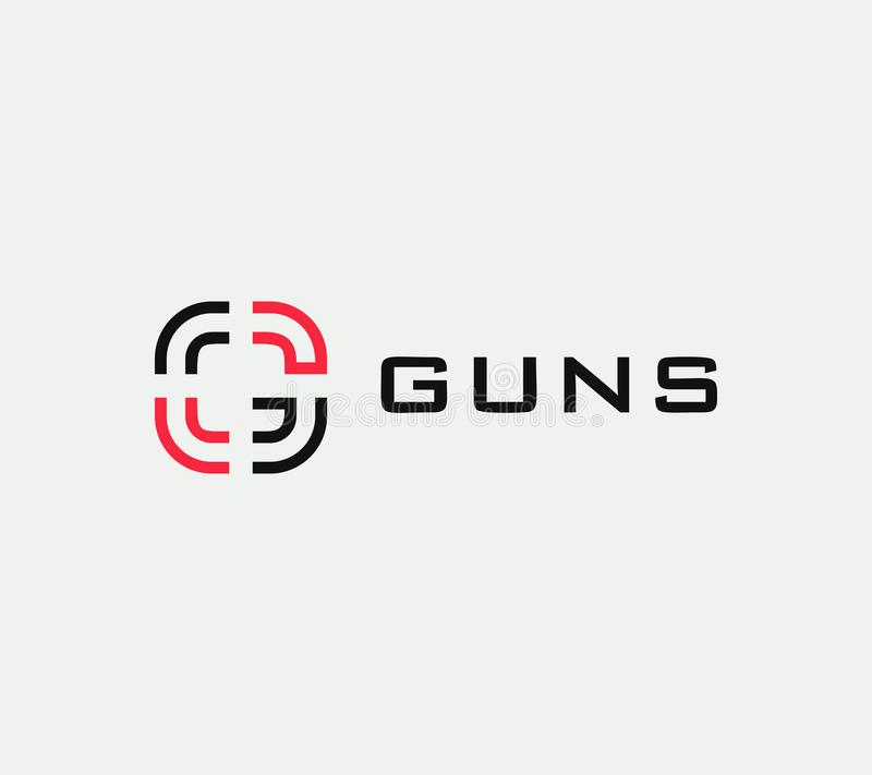 Aim vector linear stylized icon, goal abstract sign, target symbol, gun business logo template, vector illustration on. White background stock illustration