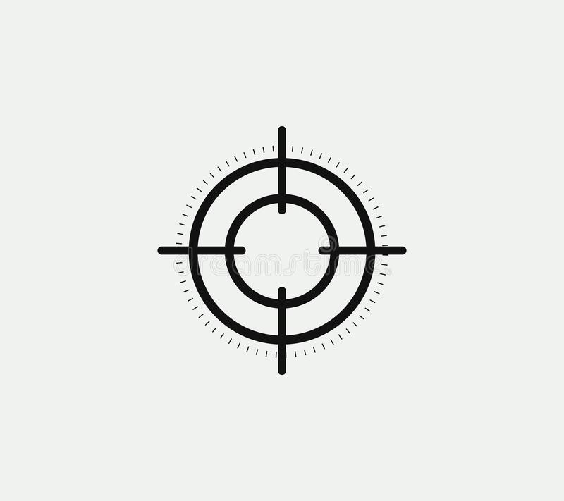 Aim vector linear stylized icon, goal abstract sign, target symbol, gun business logo template, vector illustration on. White background vector illustration
