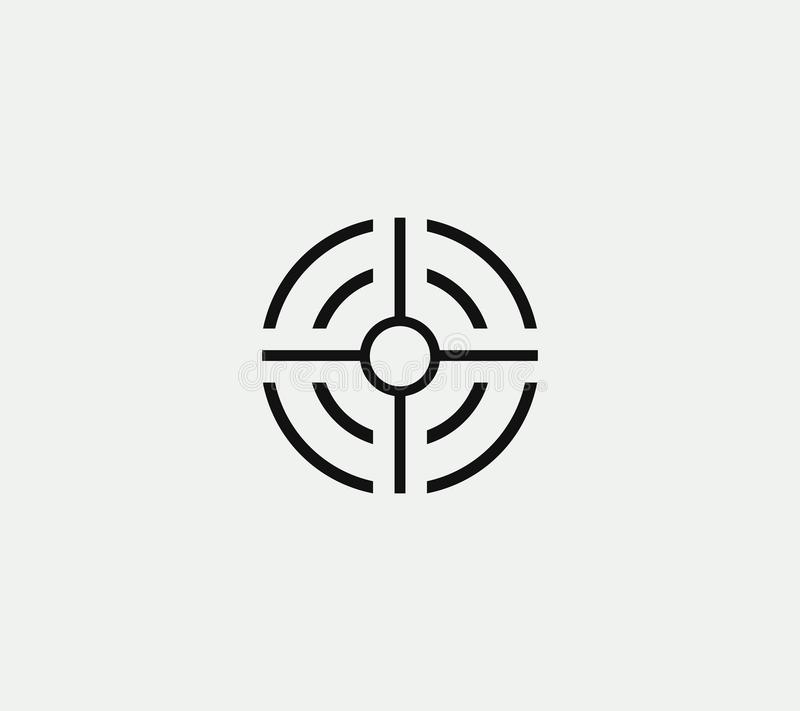 Aim vector linear stylized icon, goal abstract sign, target symbol, gun business logo template, vector illustration on royalty free illustration
