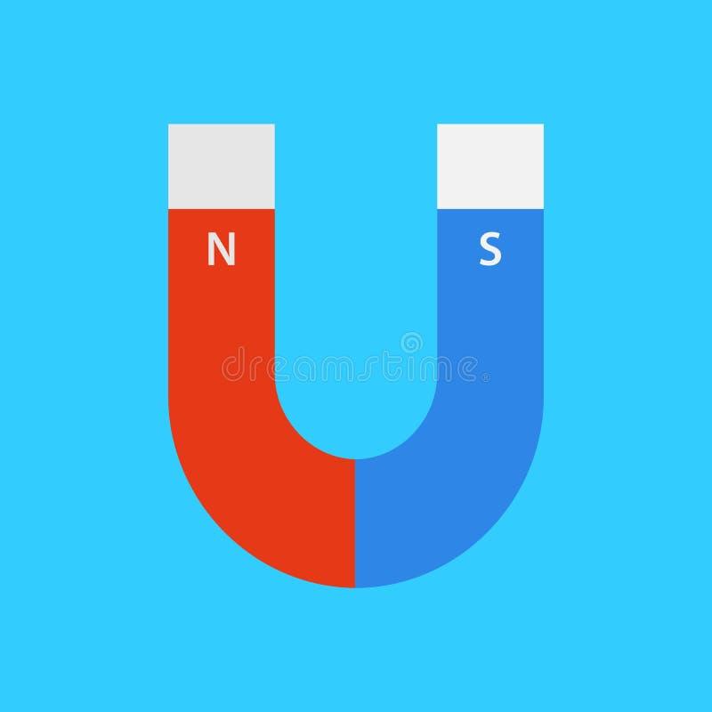 Aimant de vecteur dans le style plat magnétisme Sud et nord Lu et bleu illustration de vecteur