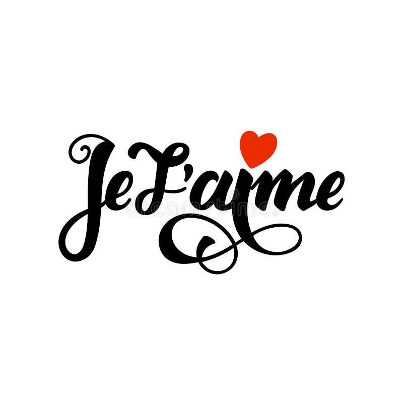 Aime de Je t Belle carte de jour de valentines avec le lettrage entendu et noir rouge La main a esquissé le texte d'amour en fran illustration stock