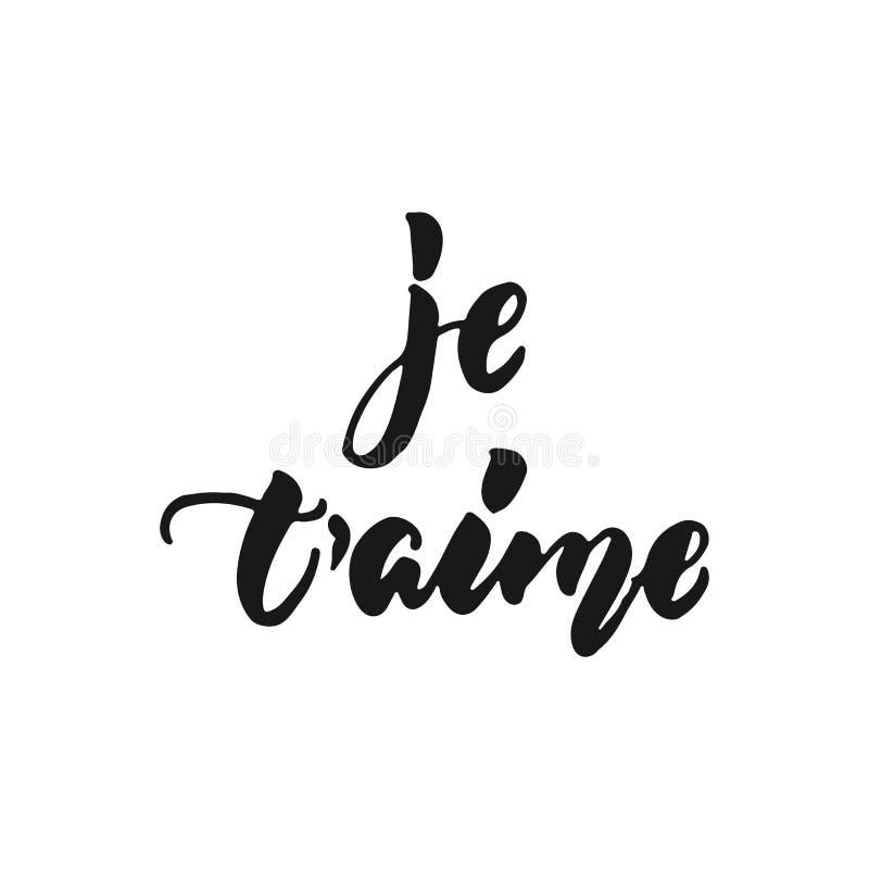 Aime de ` de Je t je t'aime dans l'expression tirée par la main française de lettrage d'isolement sur le fond blanc Inscription d illustration libre de droits