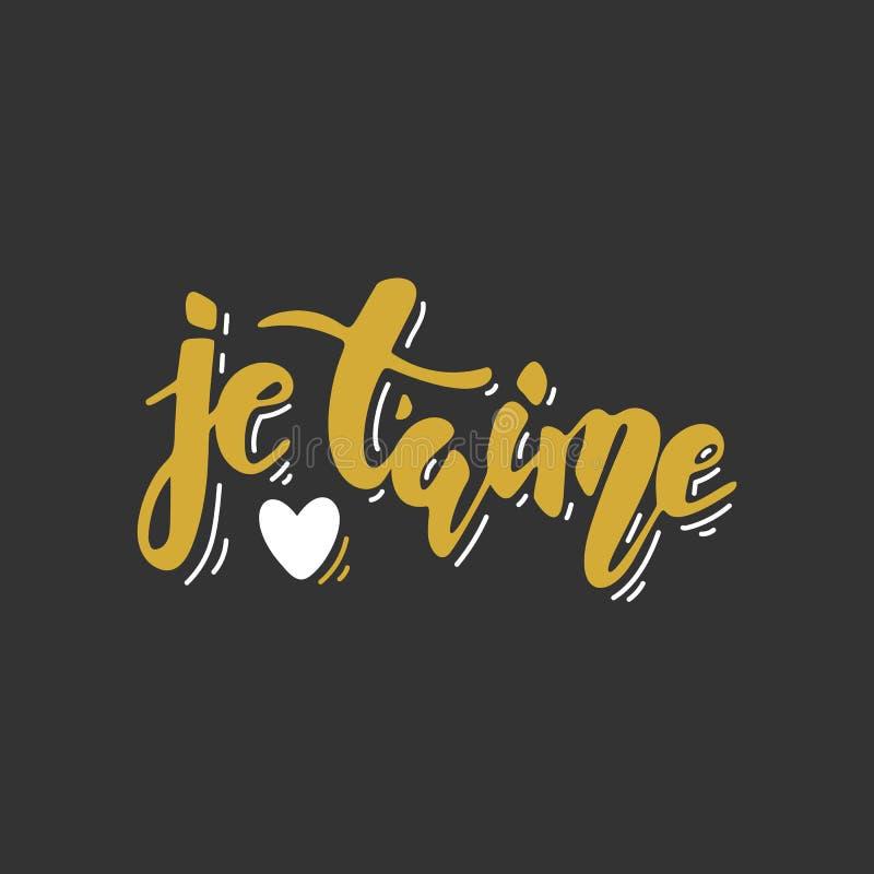 Aime de ` de Je t Lettrage tiré par la main Carte romantique d'or d'ANG de noir de jour du ` s de Valentine illustration de vecteur