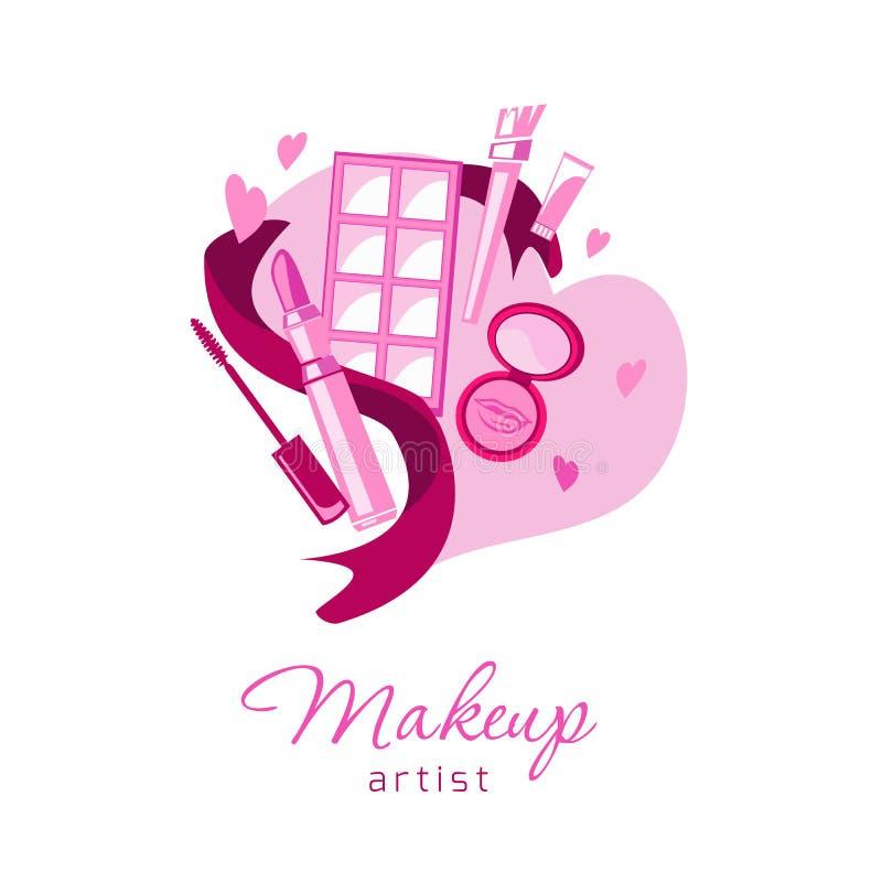 Aimer composent l'emblème de logo de beauté d'artiste sur le coeur illustration stock