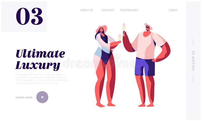 Aimer couplent dans des costumes de bain buvant Champagne illustration libre de droits