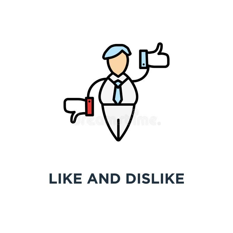 aimez et détestez l'icône, symbole du marketing social de médias, personnage de dessin animé mignon se tient comme et l'aversion  illustration stock
