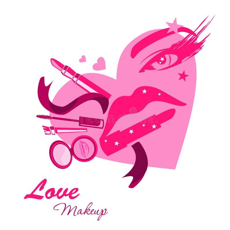 Aimez l'emblème de logo de beauté de maquillage sous la forme de visage de fille illustration de vecteur