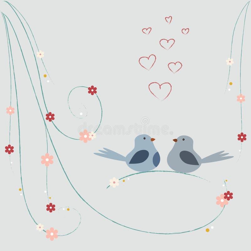 Aimez la carte avec les oiseaux mignons se reposant sur la branche illustration stock