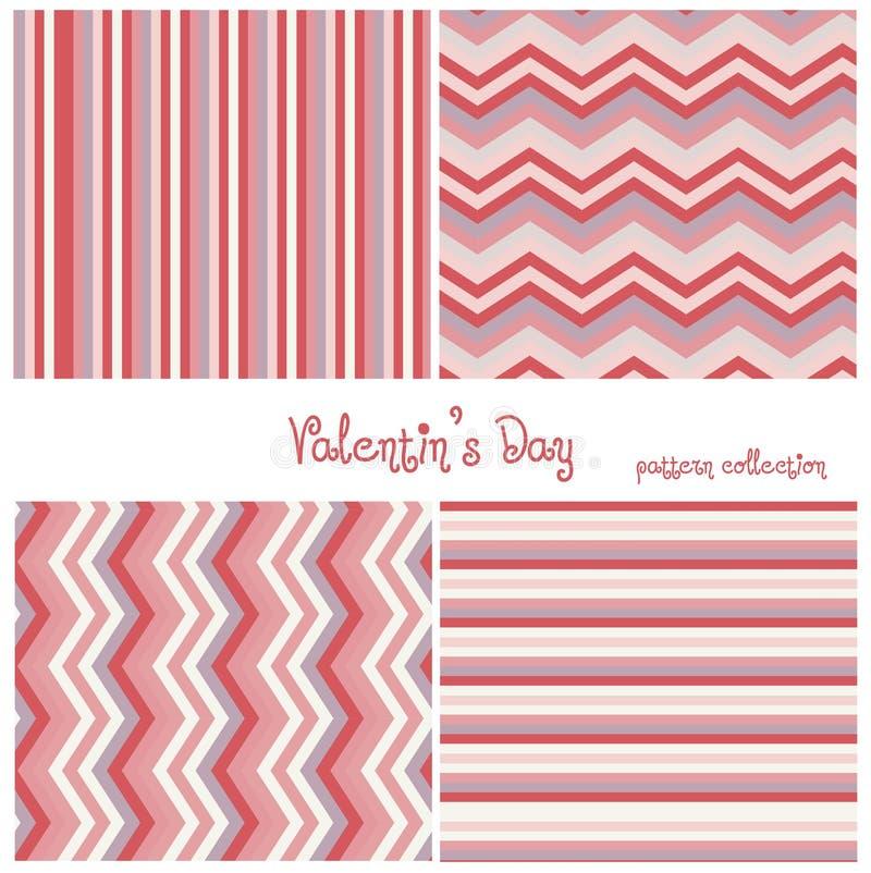 Aimez la collection de quatre modèles sans couture pour le jour de valentines de St Coeurs colorés faits dans le vecteur illustration stock