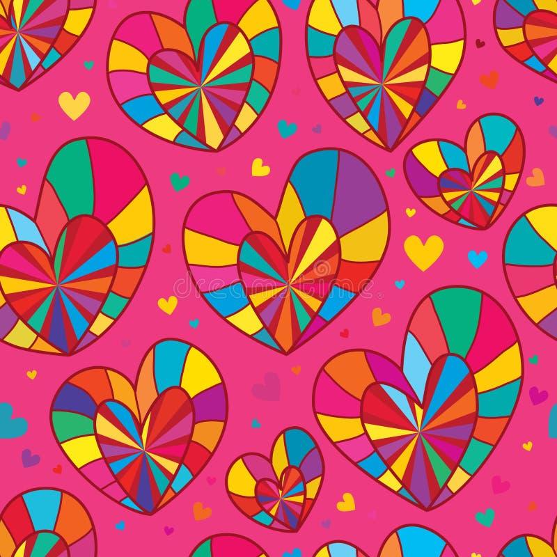 Aimez la double ligne modèle sans couture rose coloré de rayon illustration de vecteur