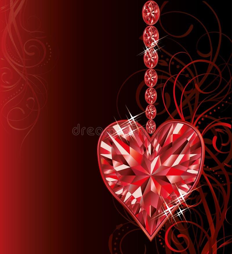 Aimez le coeur rouge, épousant la carte de jour de valentines illustration de vecteur