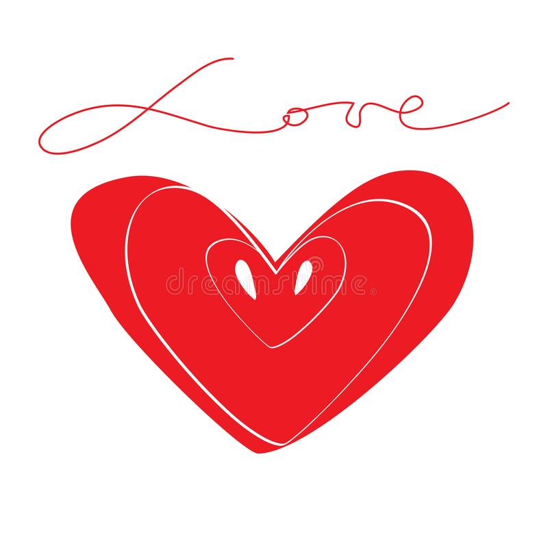 Aimez le coeur rouge de symbole avec le mot calligraphique et les graines Association et productivité illustration de vecteur