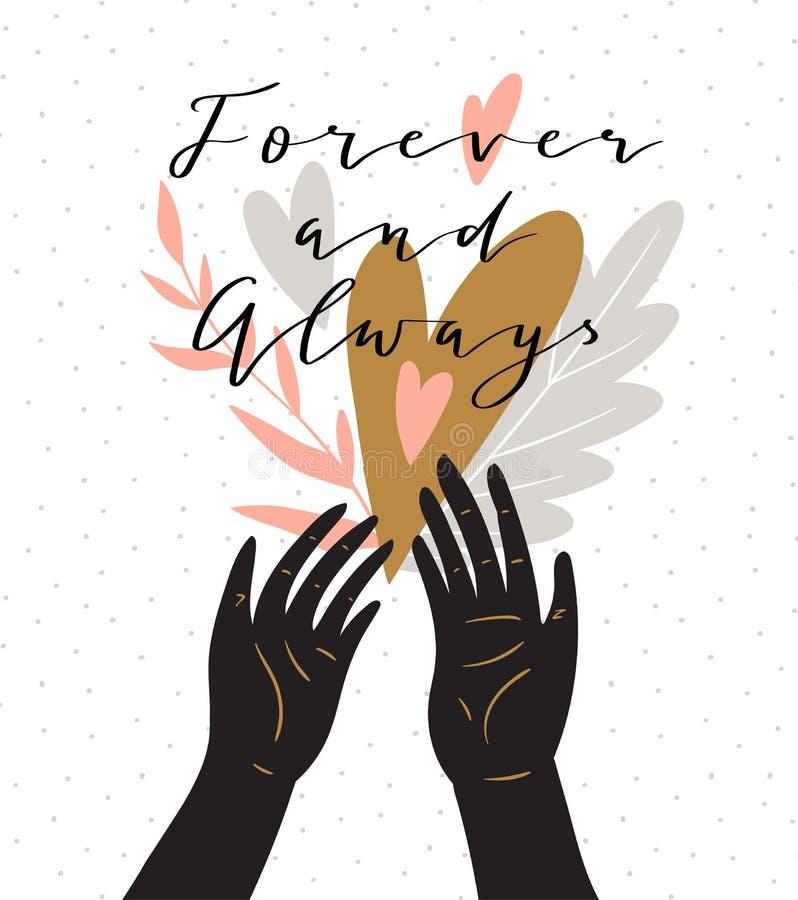 Aimez le fond avec le ` élégant de lettrage pour toujours et toujours ` Carte élégante d'amour de salutation de jour de valentine illustration libre de droits