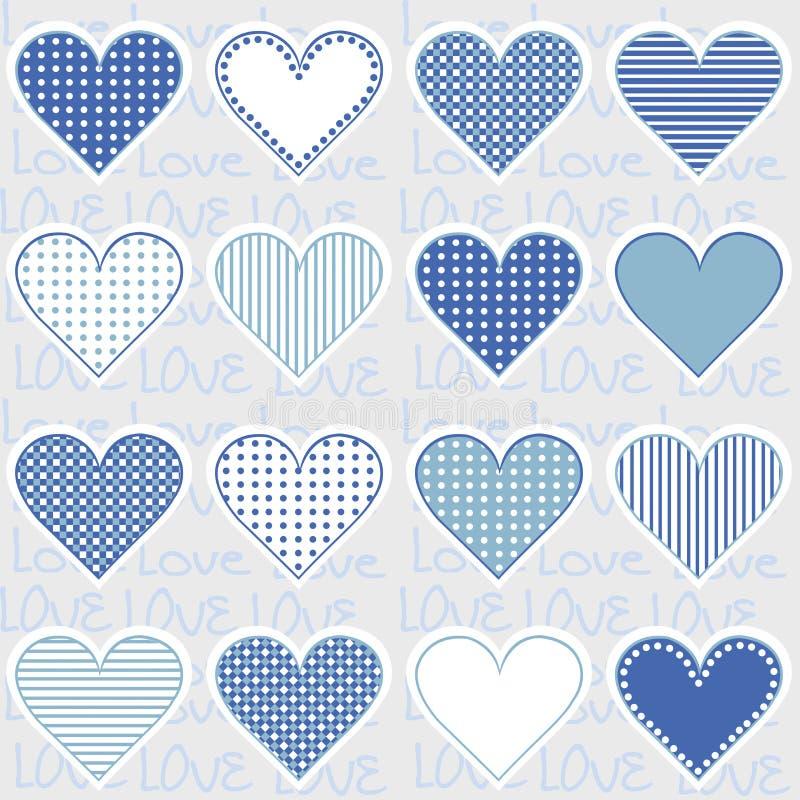 Aimez le fond avec des cadres de coeur sur le bleu, modèle pour le bébé garçon illustration stock