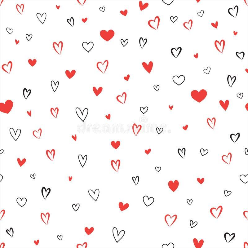 Aimez le fond sans couture de modèle de coeur de Valentine de jour sans couture du ` s illustration de vecteur