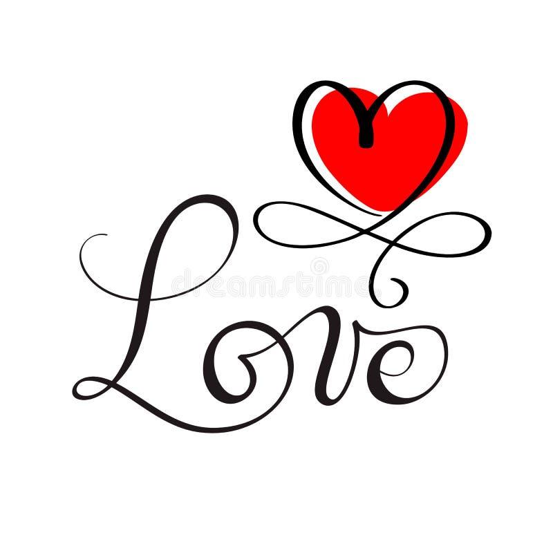 AIMEZ le lettrage fait sur commande original de main, calligraphie faite main, élément de conception du flourish rouge de coeur illustration de vecteur