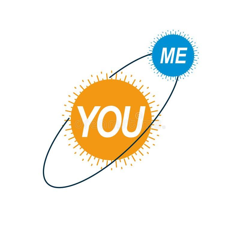 Aimez le logo conceptuel de couples, symbole unique de vecteur Signes de mâle et de femelle, de Mars et de Vénus illustration de vecteur