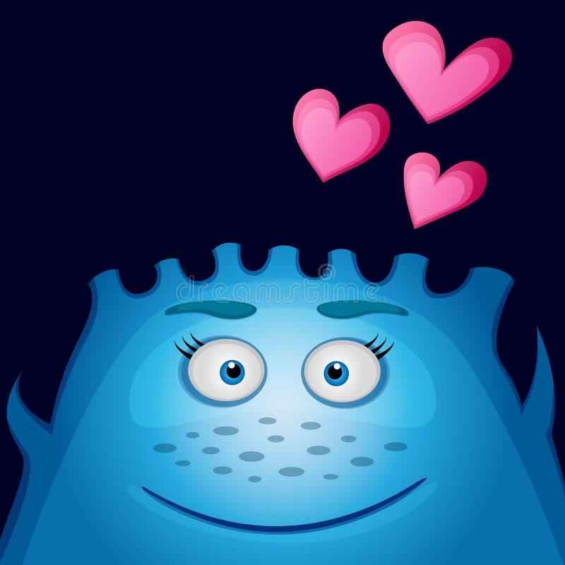 Aimez le monstre bleu avec le coeur sur un fond noir Petit monstre de sourire mignon drôle bleu amical Illustration de vecteur illustration stock