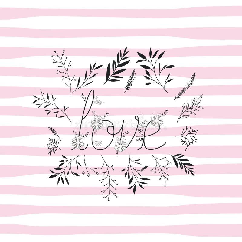 Aimez le mot avec la police faite main et la décoration florale illustration de vecteur