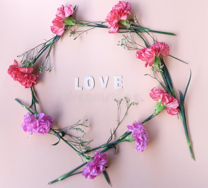 Aimez le mot en bois avec le cadre géométrique de fleurs fraîches sur pi pâle photo stock