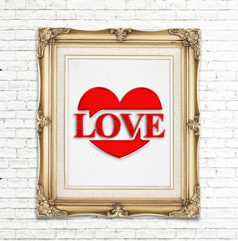Aimez le mot et l'icône de coeur (indiquant l'amour) dans le cadre d'or de photo de vintage sur le mur de briques blanc, concept  photos libres de droits