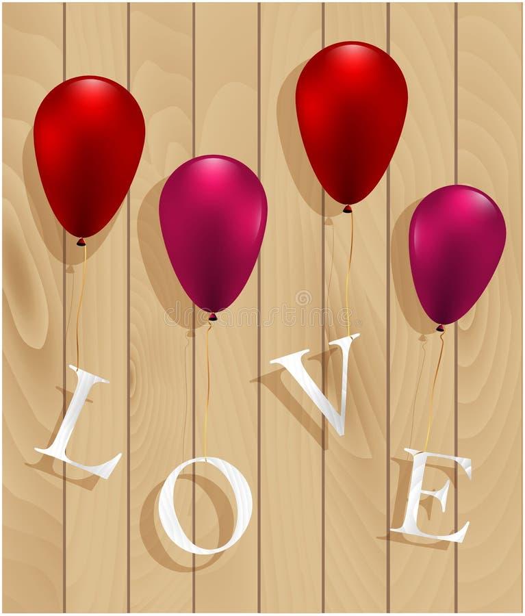 Aimez le signe accrochant sur des ballons sur le fond en bois image stock