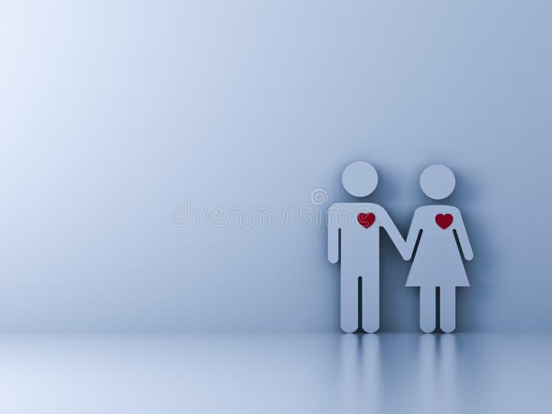 Aimez les couples tenant la main sur le fond blanc avec l'ombre illustration libre de droits