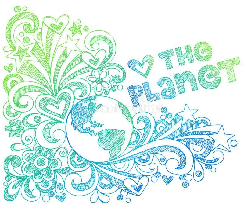 Aimez les griffonnages peu précis de cahier de planète illustration stock