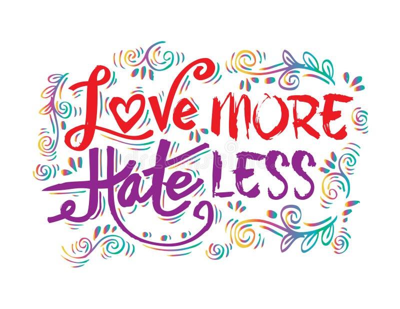 Aimez plus de haine moins illustration libre de droits
