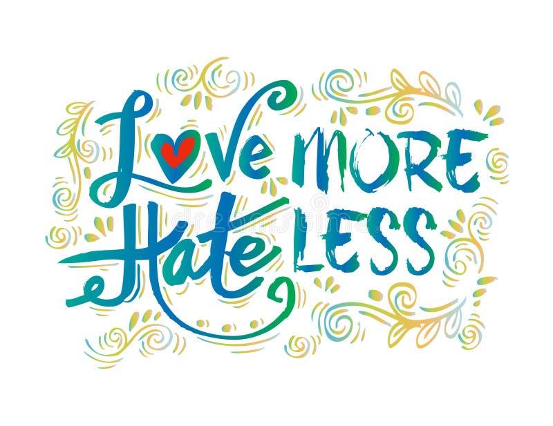 Aimez plus de haine moins illustration de vecteur