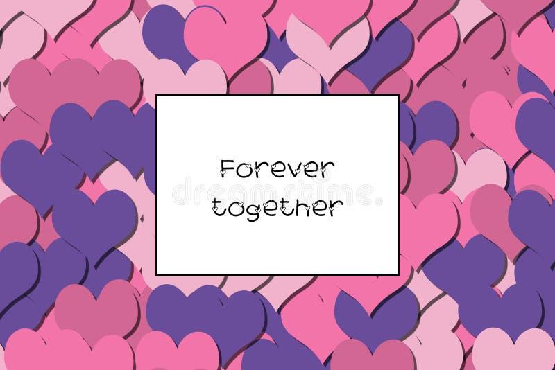 Aimez pour toujours ensemble la carte avec les coeurs roses comme fond illustration libre de droits