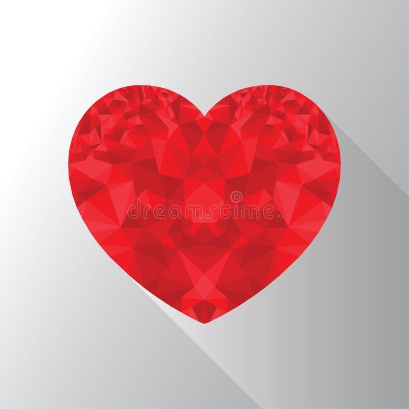 Aimez- quevous la forme de coeur dans le poly style de conception d'art avec désire ardemment élément d'ombre illustration stock