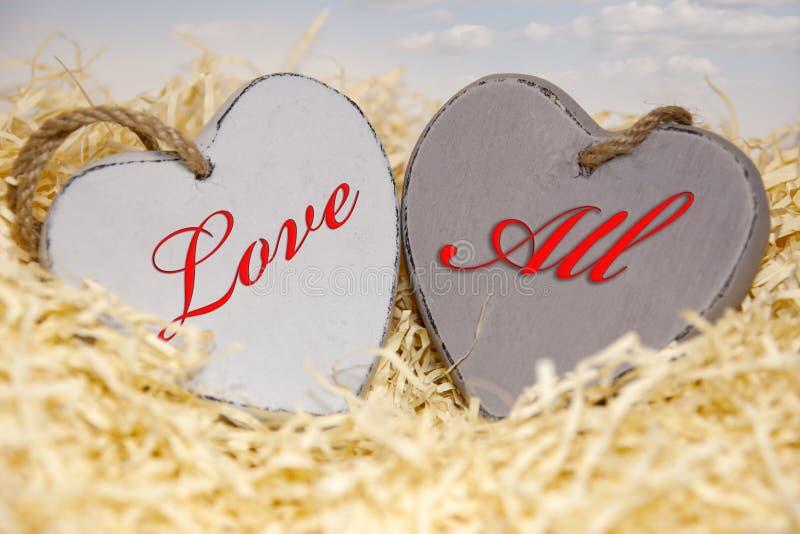 Aimez tous les coeurs en bois photo stock