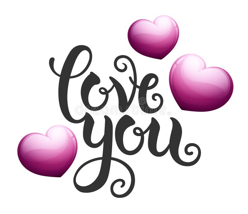 Aimez-vous avec les coeurs roses illustration libre de droits