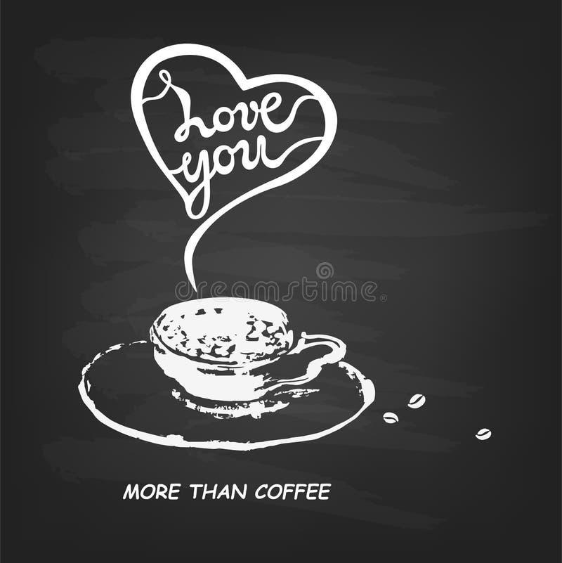 Aimez-vous davantage que le texte de café d'isolement sur le fond noir texturisé illustration stock