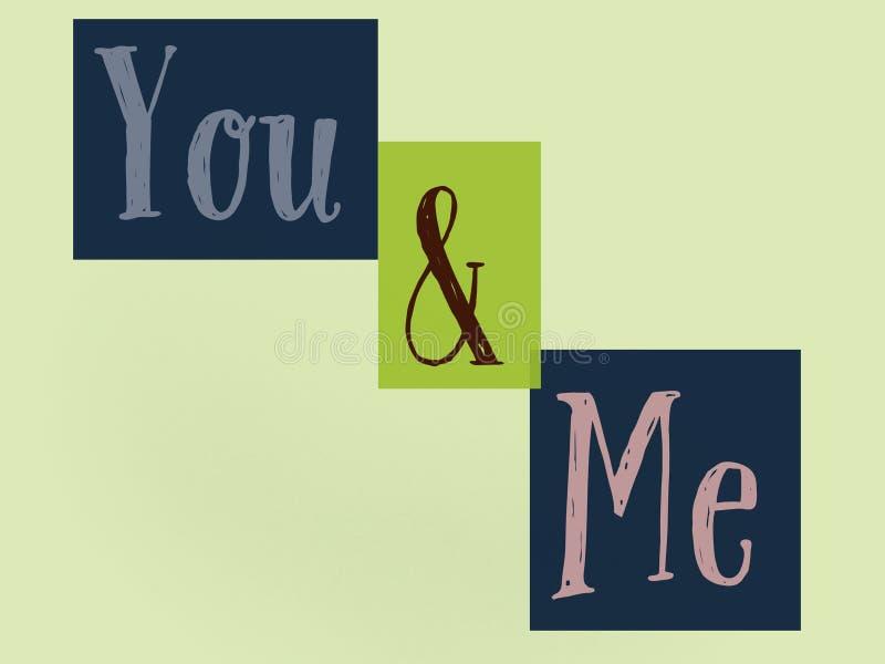 Aimez vous et moi mur étonnant avec de belles couleurs de fond illustration stock