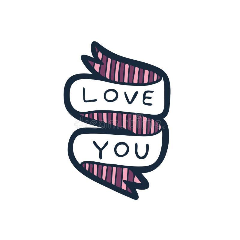 Aimez-vous les lettres tirées par la main sur bande illustration stock