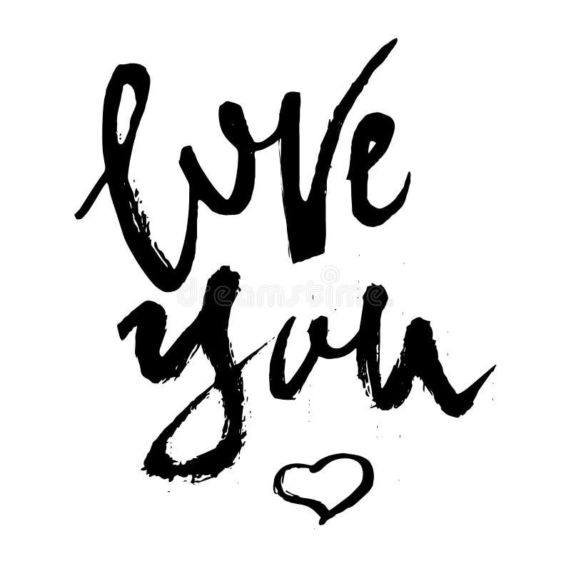 Aimez-vous lettrage écrit par main avec le coeur illustration de vecteur