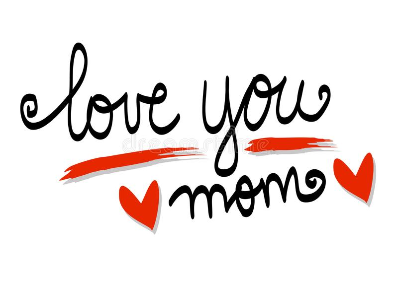 Aimez-vous lettrage de maman illustration libre de droits