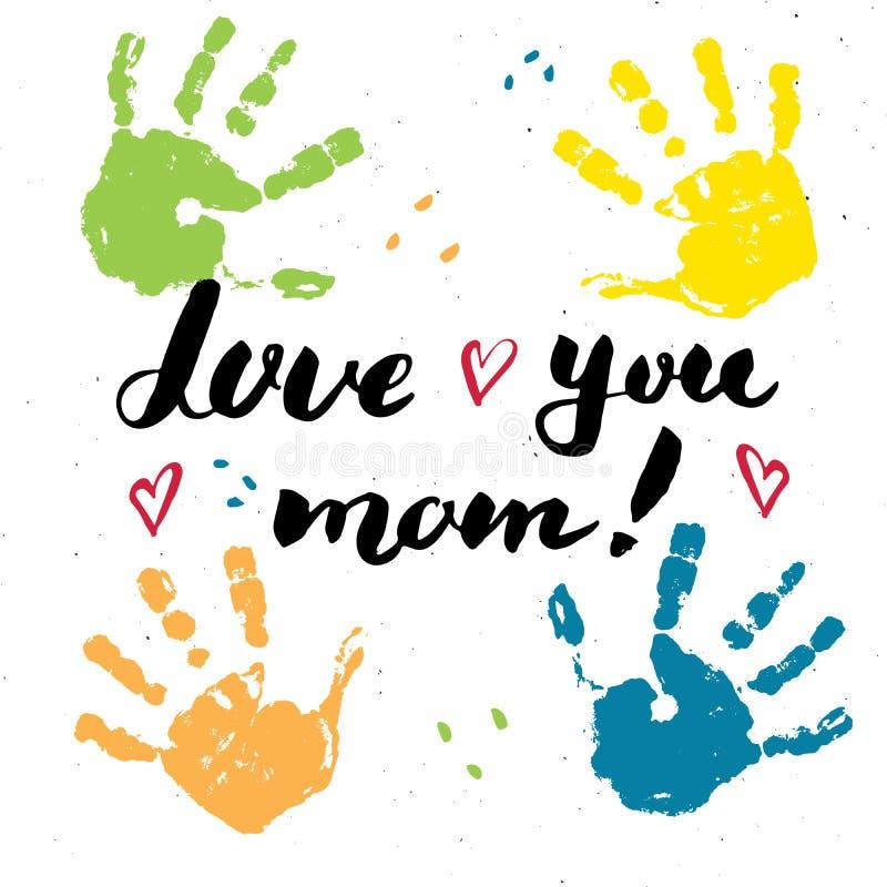 Aimez-vous, maman ! Signe de inscription manuscrit de calligraphie, carte de voeux tirée par la main du jour de mère avec le timb illustration de vecteur