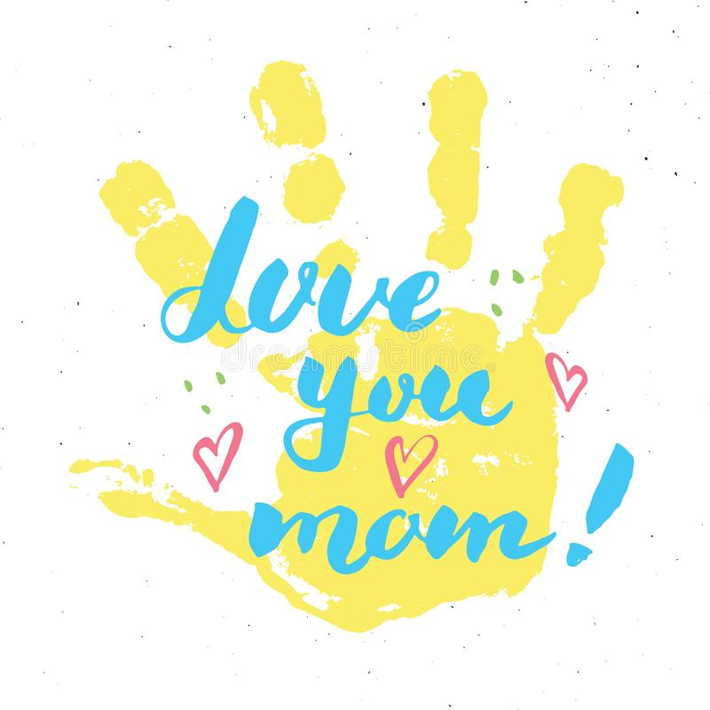 Aimez-vous, maman ! Signe de inscription manuscrit de calligraphie, carte de voeux tirée par la main du jour de mère avec le timb illustration libre de droits